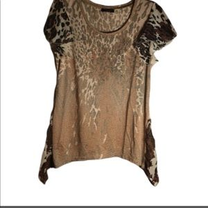 Leopard print short sleeve shirt sz Small petite